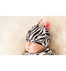 Zebra Cocoon & Ears Hat Set